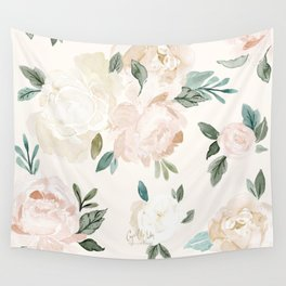 Vintage Blush Floral - softest pastel Wall Tapestry