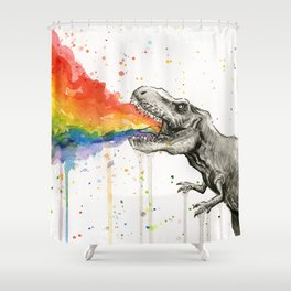 T-Rex Rainbow Puke Shower Curtain