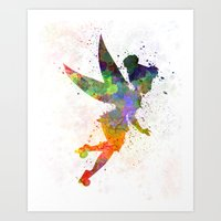 tinker bell Art Prints featuring Tinker bell in watercolor by Paulrommer