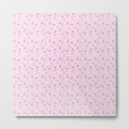 Pink blush yellow teal abstract modern floral Metal Print