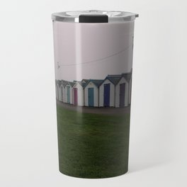 Preston Beach Huts On A Foggy Morning Travel Mug