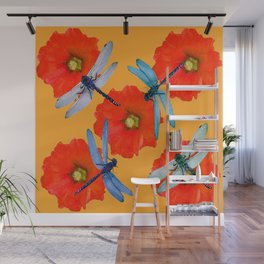 CLUSTER OF BLUE DRAGONFLIES RED HOLLYHOCK FLOWERS Wall Mural