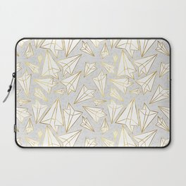 Paper Airplanes Faux Gold on Grey Laptop Sleeve