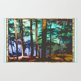 MOUNTAIN LAKE THROUGH HEMLOCK TREES Rug