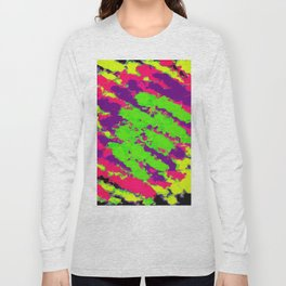 psychedelic splash painting abstract texture in yellow green pink purple black Long Sleeve T-shirt