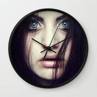 fear Wall Clocks featuring Fear by Funkygirl4ever95
