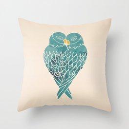 Love Birds (Blue) Throw Pillow