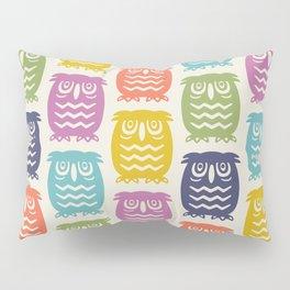 Mid Century Owl Pattern Multi-Color 22 Pillow Sham