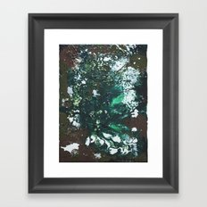 Green abstract liquidity. Framed Art Print