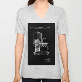 Espresso Machine Patent Artwork - White on Black Unisex V-Neck