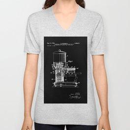 Espresso Machine Patent Artwork - White on Black Unisex V-Neck