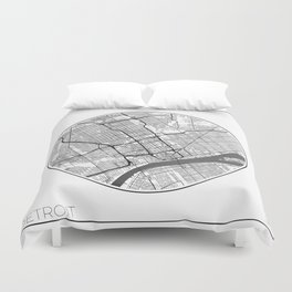 Detroit Map Universe Duvet Cover