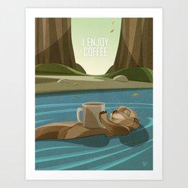 Otter enjoys Coffee Art Print