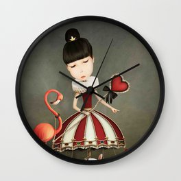 girl fairy queen with carousel and animals Wall Clock