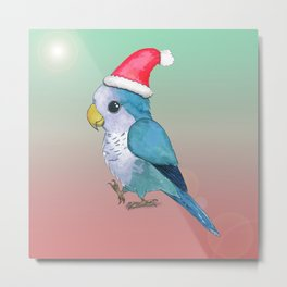 Cute blue Christmas parrot Metal Print