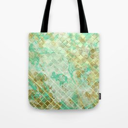 Turquoise & Gold marble mosaic Tote Bag