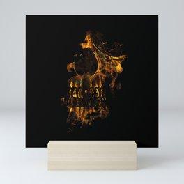 Skull Burning Digital Collage Illustration Mini Art Print