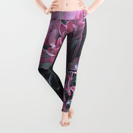 Glitch Pink Hydrangea Leggings