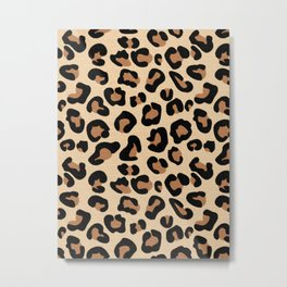 Leopard Print, Black, Brown, Rust and Tan Metal Print