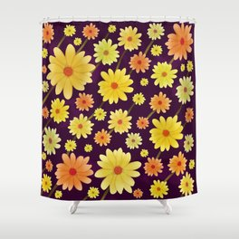 Yellow dots, Yellow Flower, Floral Pattern, Yellow Blossom Shower Curtain