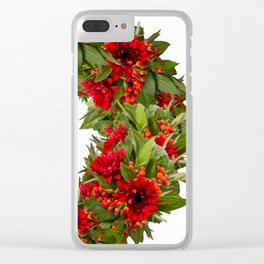 Red And Green Wreath On A White Background - Arrangement Of Flowers And Berries #decor #society6 Clear iPhone Case