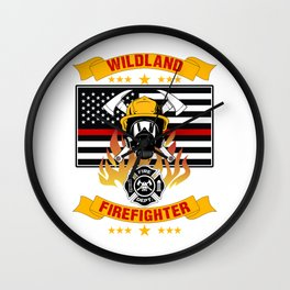 Wildland Firefighter Hero Thin Red Line Smokejumper Gift Wall Clock