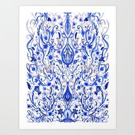 Indigo Folk paradise Art Print