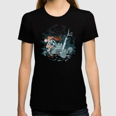 Cyberpunk Beat Down Womens Fitted Tee Black SMALL