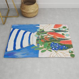 Nautical Striped Vase of Flowers Rug