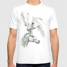 Horses sketch SK036 Mens Fitted Tee White LARGE