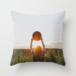 Girl With A Hat At Sunset Throw Pillow