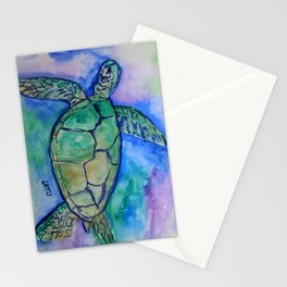 Sea Turtle Watercolor Painting Stationery Cards