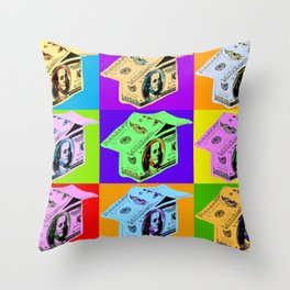 Poster with dollars house in pop art style Throw Pillow