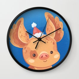 Festive Pig in a New Year's Cap Wall Clock
