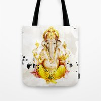 ganesha Tote Bags featuring Ganesha by O. Be