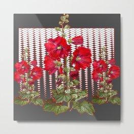 MODERN ART RED HOLLYHOCKS BOTANICAL Metal Print