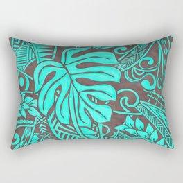 Teal Polynesian Tropical Leaf Design Rectangular Pillow