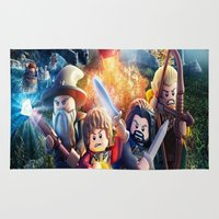 hobbit Area & Throw Rugs featuring Lego the hobbit by custompro
