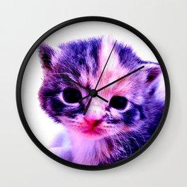 Blue Pink Cute Little Cat Wall Clock