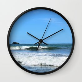 Costa Rican Surfing Waves Wall Clock
