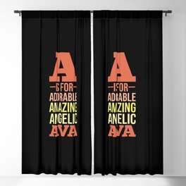 AVA Personalized Girl Name A Is For Adorable Blackout Curtain