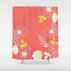 Coral Retro Floral Shower Curtain