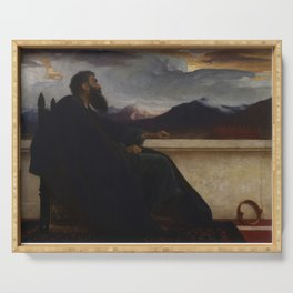 """David: """"Oh, that I had wings like a Dove! For then would I fly away, and be at rest."""" Psalm 55:6 by Frederic Leighton Serving Tray"""