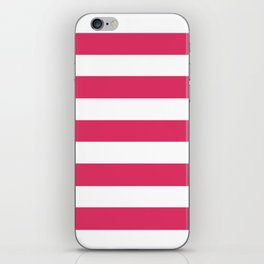 Cerise - solid color - white stripes pattern iPhone Skin