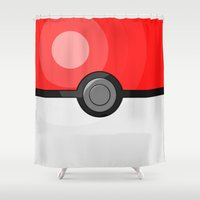 pokeball Shower Curtains featuring Classic Pokeball by Amandazzling