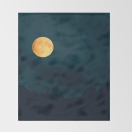 Full Moon Shines Overnight #decor #society6 #buyart #homedecor Throw Blanket