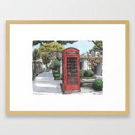 Red phone box in Davis Framed Art Print