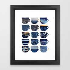 Pretty Blue Coffee Cups Framed Art Print