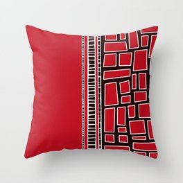 Red Squares Throw Pillow