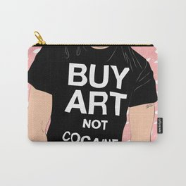 Buy Art, Not Cocaine - Dude with Blue Hair Typography Digital Drawing Carry-All Pouch